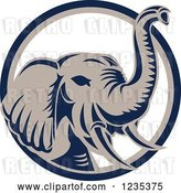 Vector Clip Art of Retro Elephant in a Blue White and Tan Circle by Patrimonio