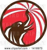 Vector Clip Art of Retro Elephant Spraying Water from His Trunk in a Brown Red and White Circle by Patrimonio