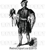 Vector Clip Art of Retro Elizabethan Guy with a Bird by Prawny Vintage