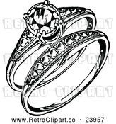 Vector Clip Art of Retro Engagement Ring and Band by Prawny Vintage
