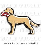 Vector Clip Art of Retro English Setter Dog with a Deflated Volleyball in His Mouth by Patrimonio