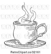 Vector Clip Art of Retro Engraved Cup of Hot Tea or Coffee by AtStockIllustration