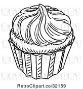 Vector Clip Art of Retro Engraved Cupcake by AtStockIllustration