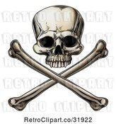 Vector Clip Art of Retro Engraved Human Skull over Crossed Bones by AtStockIllustration