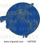 Vector Clip Art of Retro Engraved Hunter with a Rifle in a Blue Circle by Patrimonio