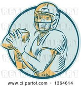 Vector Clip Art of Retro Engraved Male Quarterback American Football Player Throwing in a Blue Circle by Patrimonio
