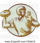 Vector Clip Art of Retro Engraved Male Quarterback American Football Player Throwing in a Circle by Patrimonio