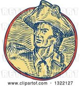 Vector Clip Art of Retro Engraved or Sketched American Patriot Minuteman Revolutionary Soldier in a Circle by Patrimonio