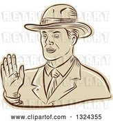 Vector Clip Art of Retro Engraved or Sketched Business Man Waving by Patrimonio