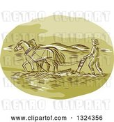 Vector Clip Art of Retro Engraved or Sketched Farmer and Horse Powing a Field by Patrimonio