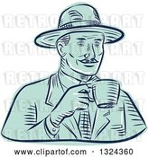 Vector Clip Art of Retro Engraved or Sketched Guy in a Fedora Hat, Drinking Coffee by Patrimonio