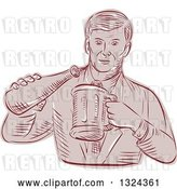 Vector Clip Art of Retro Engraved or Sketched Guy Pouring Beer into a Mug by Patrimonio
