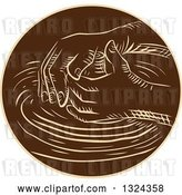Vector Clip Art of Retro Engraved or Sketched Hands Shaping Clay on a Pottery Wheel by Patrimonio