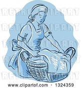 Vector Clip Art of Retro Engraved or Sketched Maid Carrying a Basket of Laundry over Blue by Patrimonio