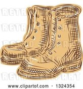 Vector Clip Art of Retro Engraved or Sketched Pair of Boots by Patrimonio