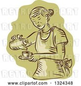 Vector Clip Art of Retro Engraved or Sketched Waitress Pouring Tea into a Cup, over Green by Patrimonio