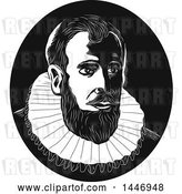 Vector Clip Art of Retro Engraved or Woodcut Styled Bust of Henry Hudson in by Patrimonio