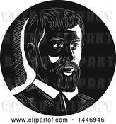Vector Clip Art of Retro Engraved or Woodcut Styled Bust Portrait of Hernando De Soto, Spanish Explorer, in by Patrimonio