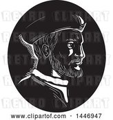 Vector Clip Art of Retro Engraved or Woodcut Styled Bust Portrait of Jacques Cartier, French Explorer, in by Patrimonio