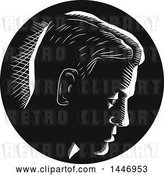 Vector Clip Art of Retro Engraved or Woodcut Styled Pensive Guy Thinking, in Profile and in by Patrimonio