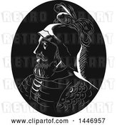 Vector Clip Art of Retro Engraved or Woodcut Styled Profile Bust Portrait of Vasco Nunez De Balboa, Spanish Explorer, in a by Patrimonio