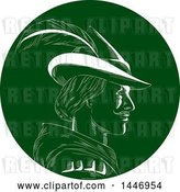 Vector Clip Art of Retro Engraved or Woodcut Styled Profiled Bust Portrait of Robin Hood in a Plumed Hat, in Green and White by Patrimonio