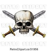 Vector Clip Art of Retro Engraved Pirate Skull over Crossed Swords by AtStockIllustration