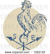 Vector Clip Art of Retro Engraved Rooster Crowing on a Weather Vane by Patrimonio