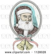 Vector Clip Art of Retro Engraved Santa Face with Christmas Bells by Patrimonio