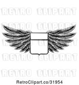Vector Clip Art of Retro Engraved Woodcut Winged Shield Insignia by AtStockIllustration