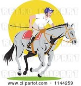 Vector Clip Art of Retro Equestrian on a Horse over Yellow Circle by Patrimonio