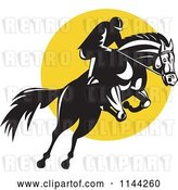 Vector Clip Art of Retro Equestrian on a Leaping Horse over a Yellow Circle by Patrimonio