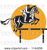Vector Clip Art of Retro Equestrian on a Leaping Horse over an Orange Circle 2 by Patrimonio