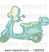Vector Clip Art of Retro Etched or Engaved Styled Scooter by Patrimonio