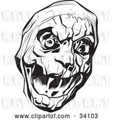 Vector Clip Art of Retro Evil Bandaged Mummy Head with One Eyeball by Lawrence Christmas Illustration