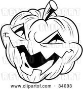Vector Clip Art of Retro Evil Laughing Carved Halloween Jack O Lantern by Lawrence Christmas Illustration