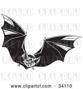 Vector Clip Art of Retro Evil Vampire Bat in Flight, Flapping Its Wings and Flying Forward by Lawrence Christmas Illustration