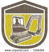 Vector Clip Art of Retro Excavator Machine in a Sheild by Patrimonio