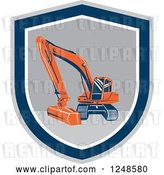 Vector Clip Art of Retro Excavator Machine in a Shield by Patrimonio