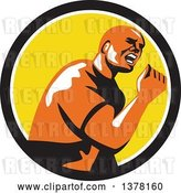 Vector Clip Art of Retro Excited Guy Doing a Fist Pump in a Black White and Yellow Circle by Patrimonio