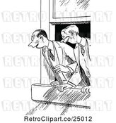 Vector Clip Art of Retro Excited Men Looking out a Window by Prawny Vintage