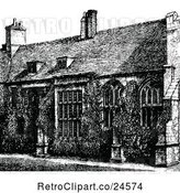 Vector Clip Art of Retro Exterior of Corpus Christi College in Cambridge Uk by Prawny Vintage