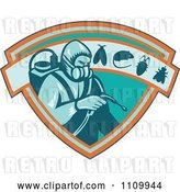 Vector Clip Art of Retro Exterminator Pest Control Worker Using Spray on a Shield with a Rat Mouse Fly and Cockroach by Patrimonio