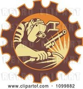 Vector Clip Art of Retro Fabricator Welder Working in a Gear Cog by Patrimonio