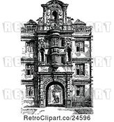 Vector Clip Art of Retro Facade of Clare College in Cambridge Uk by Prawny Vintage