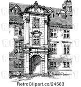 Vector Clip Art of Retro Facade of St Catherines College in Cambridge Uk by Prawny Vintage