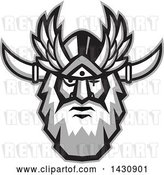 Vector Clip Art of Retro Face of Odin with a Beard and Helmet and Bind over One Eye by Patrimonio