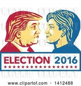 Vector Clip Art of Retro Face off Between Hillary Clinton and Donald Trump over Text by Patrimonio