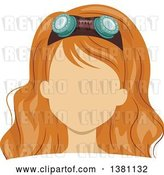 Vector Clip Art of Retro Faceless Red Haired White Lady's Face with Goggles in Her Hair by BNP Design Studio