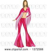 Vector Clip Art of Retro Faceless White Female Model Wearing a Pink 70s Styled Shirt and Bell Bottoms by BNP Design Studio